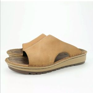 Naot Ardisia Slide Brown Leather Wedge Sandals